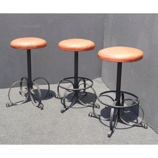 Set of Three Vintage Spanish Style Orange Iron Bar Stools ~ Mid Century Modern Preview