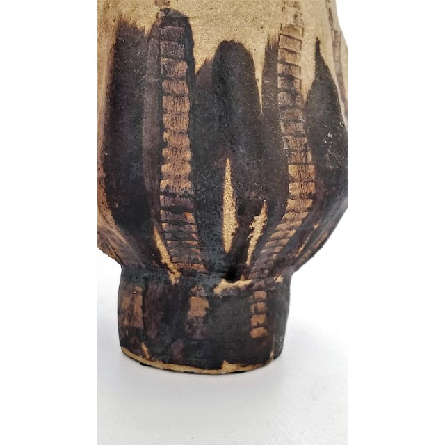 1970s Vintage Studio Art Pottery Brutalist Ceramic Vase-Signed-Mid Century Organic Modern MCM Palm Beach Boho Chic Lava Earthenware Sculpture For Sale In Miami - Image 6 of 13
