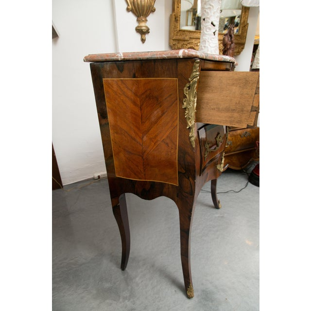 Louis XV Style Two-Drawer Commode With Marble Top, 20th Century For Sale - Image 4 of 10