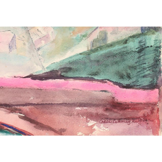 """Entitled """"Yellow Field"""" this 1960-70s watercolor on paper in pink and green is by Bay Area printmaker, painter, and book..."""