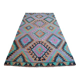 Flat Weave Faded Turkish Oushak Rug Kilim Diamond Rug- 5′5″ × 10′11″ For Sale
