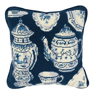 Navy Needlepoint Tea Party Pillow
