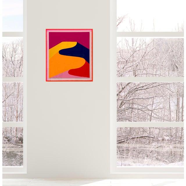 "Orange Stephanie Henderson ""Ridgeline in Summer"" Painting in Plexibox For Sale - Image 8 of 8"