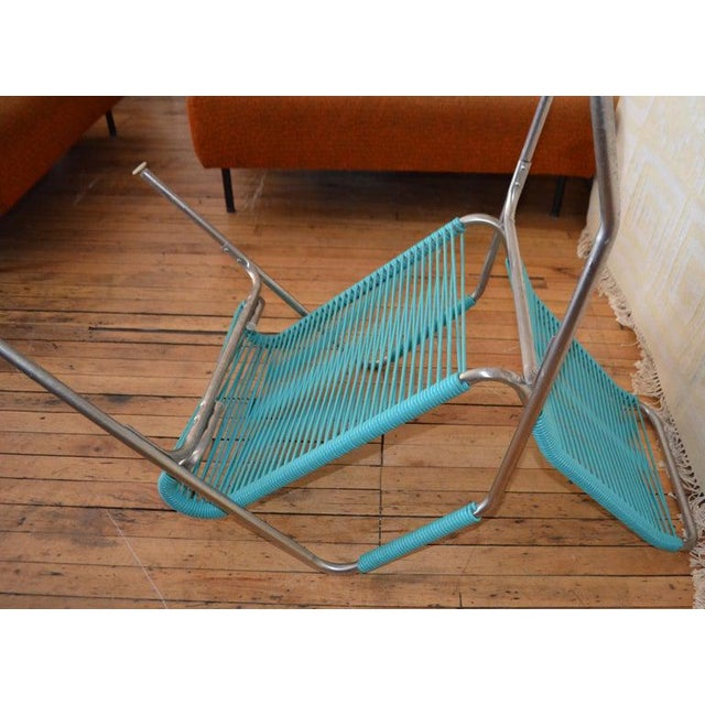 Patio Furniture by Surf Line, 2 Lounge Chairs, 1 Chaise in Stainless and Aqua For Sale - Image 12 of 13