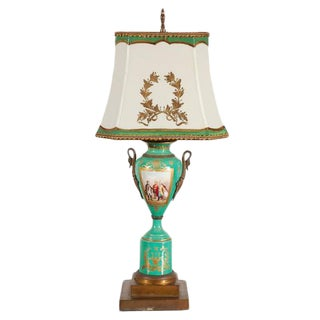 19th C. French Sevres Lamp With Napoleon Scene For Sale