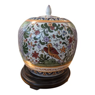 1960s Hand-Painted Chinese Ginger Jar W/ Floral & Bird Motif For Sale