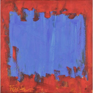 Blue Square in Orange Square Contemporary Abstract Painting For Sale