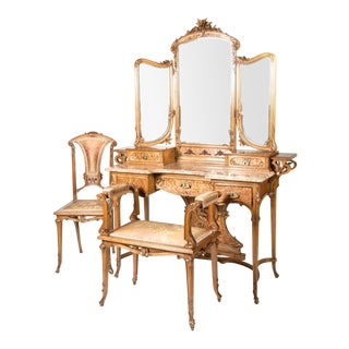 Art Nouveau Three Piece Vanity Set - Set of 3 For Sale
