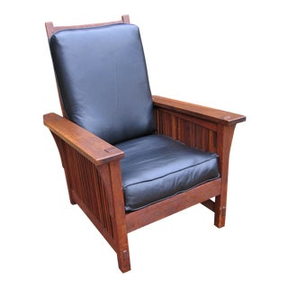 Antique Gustav Stickley Spindle Morris Chair For Sale