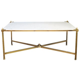 French Maison Jansen Neoclassical Style Brass Coffee Table with Marble Top For Sale