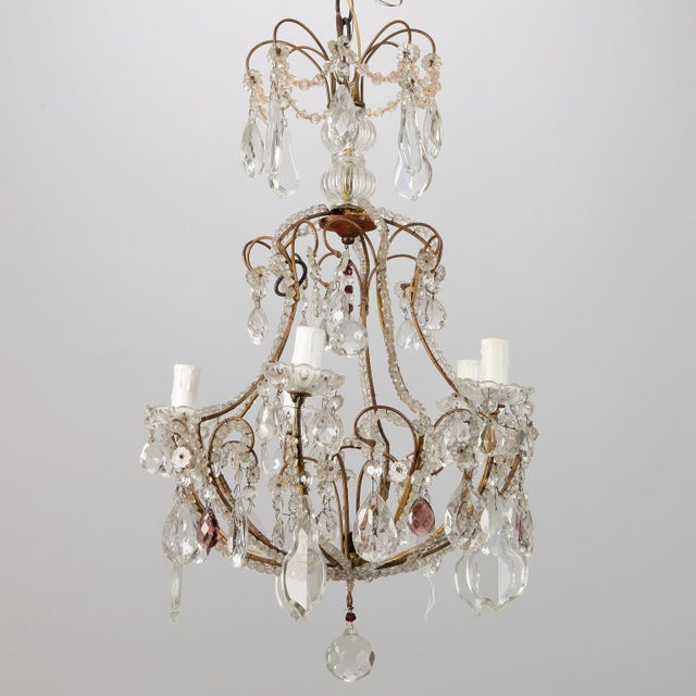 French Five Light Brass Beaded Cage Shape Chandelier - Image 1 of 6