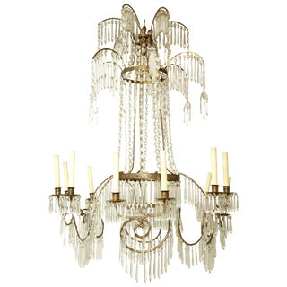 Swedish Neoclassic Bronze and Crystal Chandelier For Sale