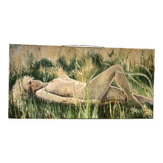 California Dreaming 1960's Oil/Wood Nude 60x30 For Sale