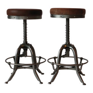 Pair of Silver Tri Leg Stools