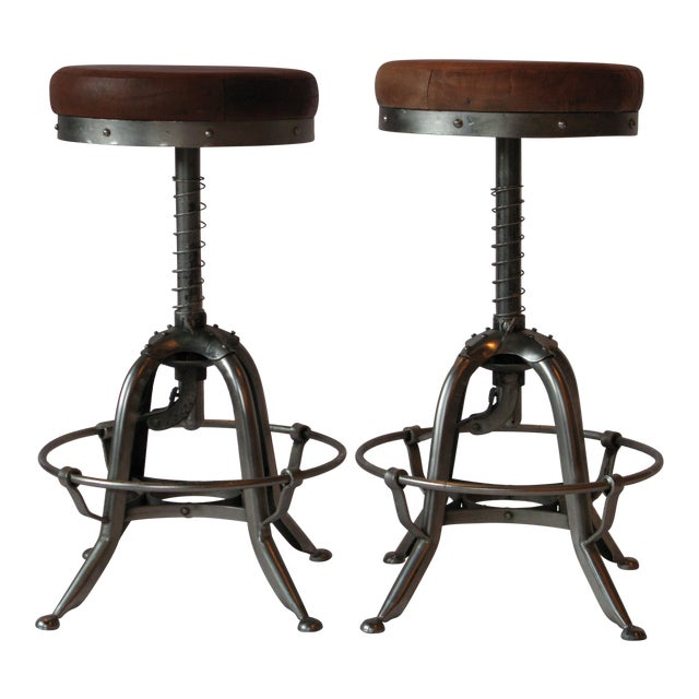 Pair of Silver Tri Leg Stools For Sale