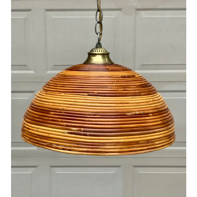 Boho Chic Vintage Bamboo Indoor/Outdoor Ceiling Light For Sale - Image 3 of 12