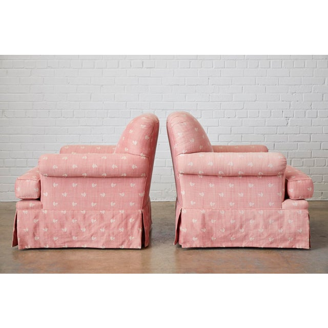 Pair of English Style Upholstered Club Chairs With Ottoman For Sale - Image 11 of 13