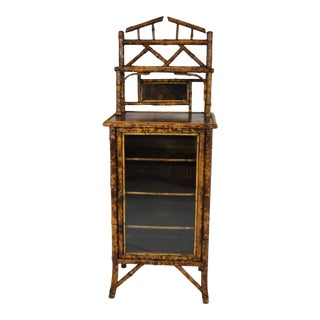 19th-Century Bamboo Bookcase/Cabinet For Sale