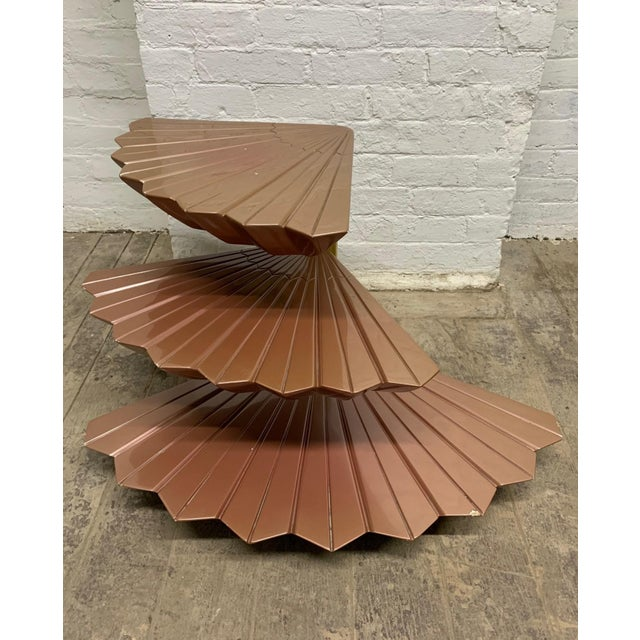 Italian Tiered Occasional Table Style of Gabriella Crespi. Three-tier revolving table. Each tier is in the form of flower...