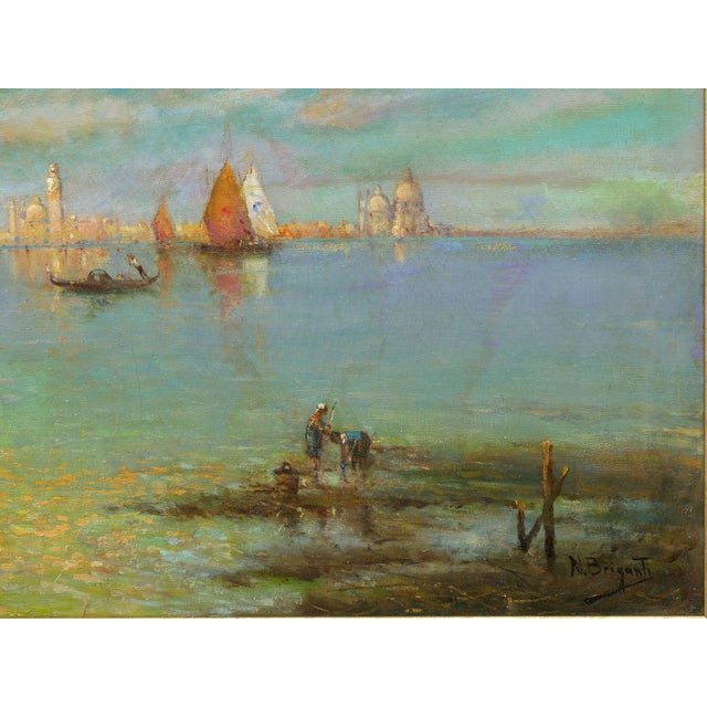 """Late 19th Century """"View of Venice"""" Antique Oil Painting by Nicholas Briganti (American, 1861-1944) For Sale - Image 5 of 13"""