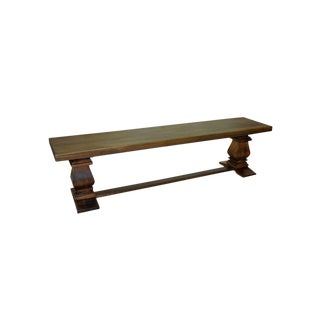 2010s Rustic Wooden Double Pedestal Bench For Sale