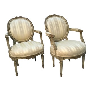 1950s Vintage Baker Louis XVI Style Upholstered Armchairs- A Pair For Sale