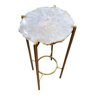 Organic Modern White Quartzite Geode Drink Table For Sale