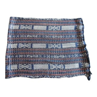 Vintage Red and Blue Woven Ikat Textile For Sale