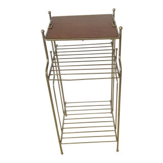 Vintage Nickel Plate Stand Wood Top 3 Tier Magazine Rack Plant Stand Telephone Table 60s For Sale
