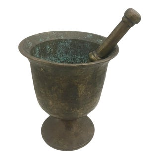 Early 20th Century Antique Brass Mortar & Pestle For Sale
