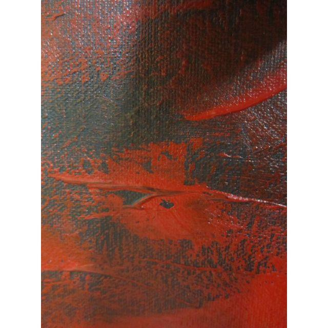Feathery Red Abstract Painting - Image 5 of 7