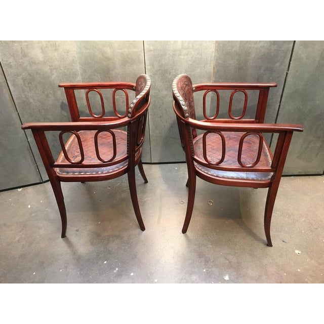 Pair of Josef Hoffman Bent Beechwood and Hand Tooled Leather Armchairs - Image 3 of 10