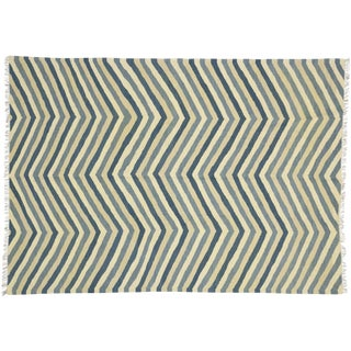 Contemporary Kilim Herringbone Chevron Design Area Rug - 6′3″ × 8′9″ For Sale