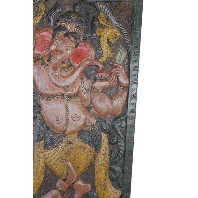 Art Deco Vintage Carved Ganesha Wall Sculpture For Sale - Image 3 of 4