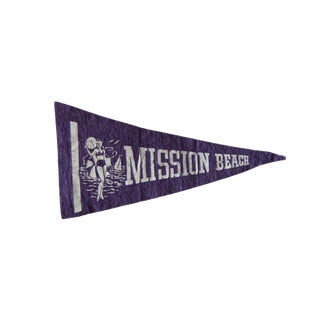 Vintage Mission Beach Felt Flag Pennant For Sale