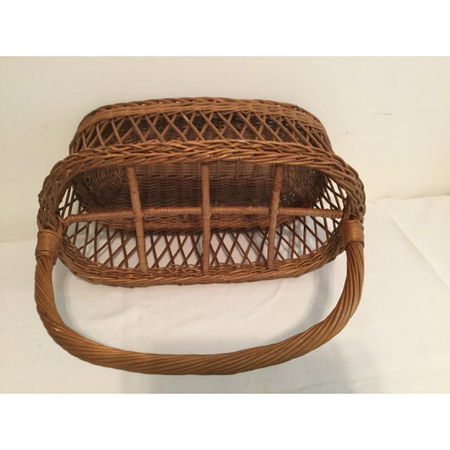 Vintage Rustic Storage Basket For Sale - Image 4 of 6