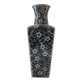 1960s Chinoiserie Blue Ceramic Cherry Blossom Vase For Sale