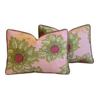 """Designer Raoul & Scalamandre Mohair Feather/Down Pillows 23"""" X 17"""" - Pair For Sale"""