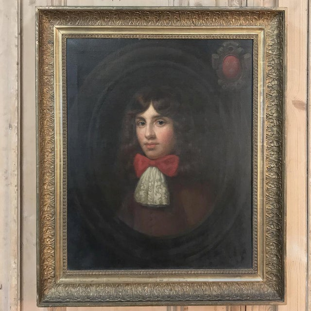 Realism 18th Century Framed Oil Portrait on Canvas For Sale - Image 3 of 12