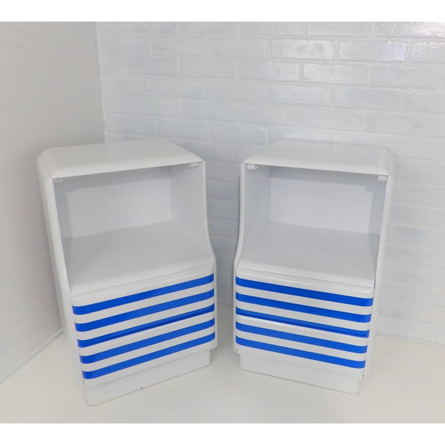 Mid-Century Modern White & Blue Striped Nightstands - A Pair For Sale - Image 10 of 10