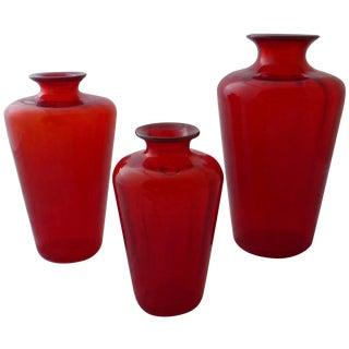 Red Graduated Venini Vases - Set of 3