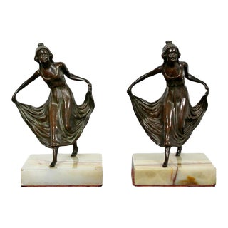 """1920s Art Deco """"Girls Dancing"""" Bronze on Marble Bookends / Sculptures - a Pair For Sale"""