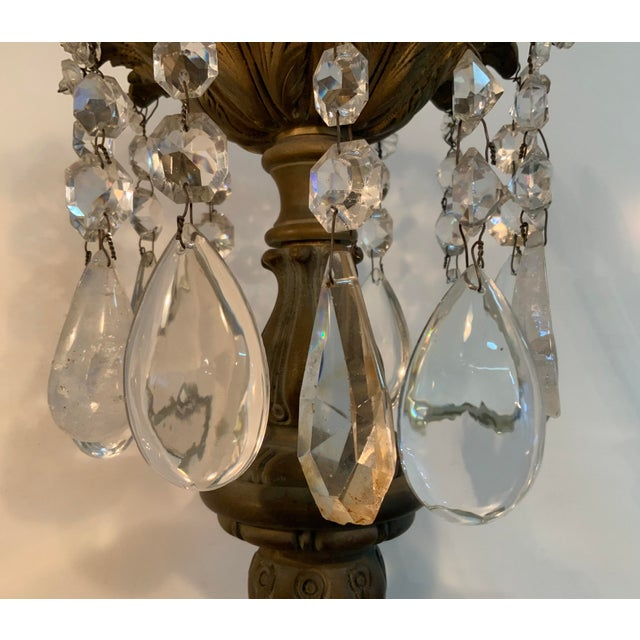 Late 19th / Early 20th Century French Bronze Chandelier With Rock Crystals For Sale - Image 11 of 13