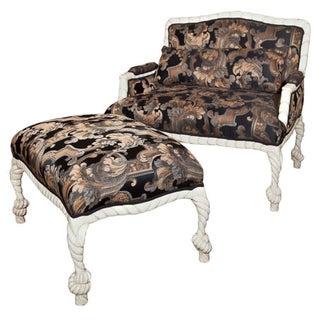 Hollywood Regency Style Painted Lounge & Stool