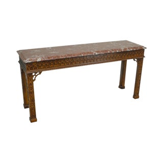 Henredon Chippendale Style Mahogany Marble Top Console Table For Sale