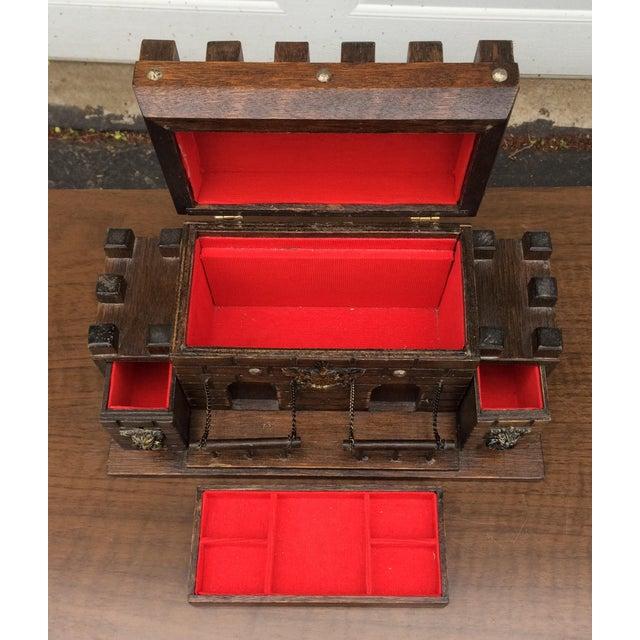 Vintage Wooden Castle Jewelry Box Chairish
