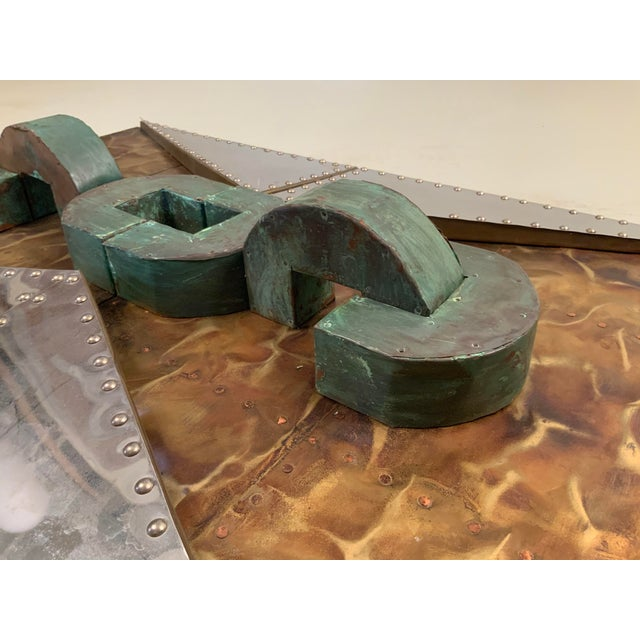1970s 'Untitled' Wall Mounted Sculpture in Copper and Brass For Sale - Image 4 of 9