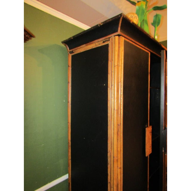 1980s 1980s Boho Chic Tall Bamboo and Rattan Cabinet For Sale - Image 5 of 8