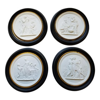 Neoclassical Parian Ware Bisque Wall Plaques in Ebonized Wood Frames With Gilt Liners- Set of 4