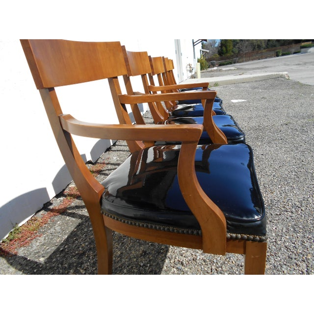 Mid-Century Patent Leather Dining Chairs - Set of 6 - Image 8 of 11